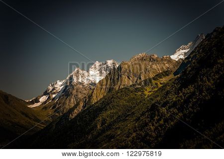 Mountain Valley, View Landscape With A Mountain. Alpine Terrain.