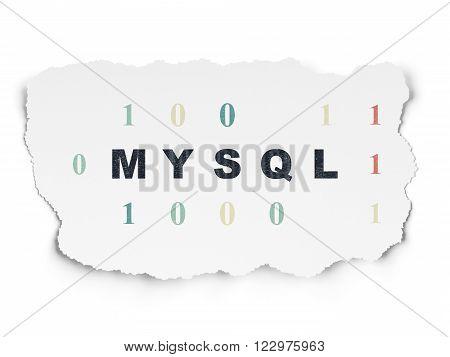 Software concept: MySQL on Torn Paper background