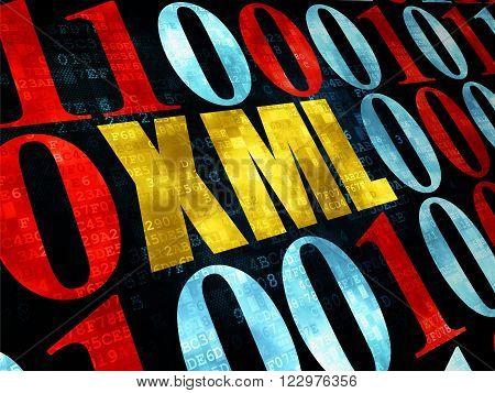 Database concept: Xml on Digital background