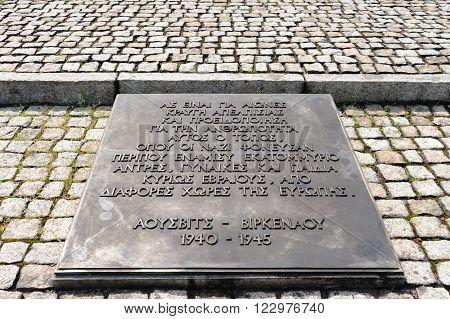 Auschwitz II - Birkenau International Monument commemorative placque in Greek language