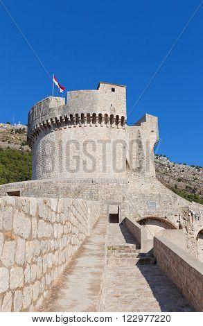 DUBROVNIK CROATIA - JANUARY 20 2016: Minceta Tower (1463 built by Nicifor Ranjina) of Dubrovnik (UNESCO site) Croatia. Was a site for fictional city of Meereen in HBO drama Game of Thrones