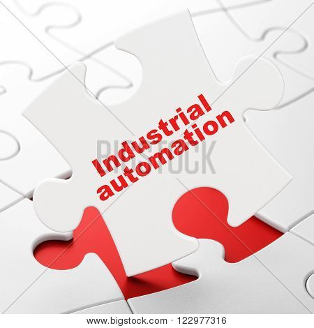 Industry concept: Industrial Automation on puzzle background