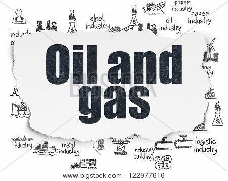 Industry concept: Oil and Gas on Torn Paper background