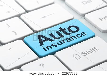 Insurance concept: Auto Insurance on computer keyboard background