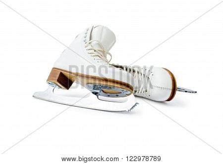 Figure ice skates. Pair of professional skates for figure ice skating leaning each other close up isolated on white background.