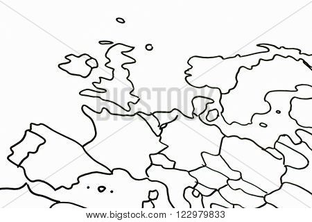 Drawing of the European continent in black and white