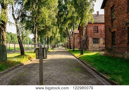 OSWIECIM, POLAND - JULY 3, 2009: Auschwitz I - Birkenau south east perimeter of the concentration camp