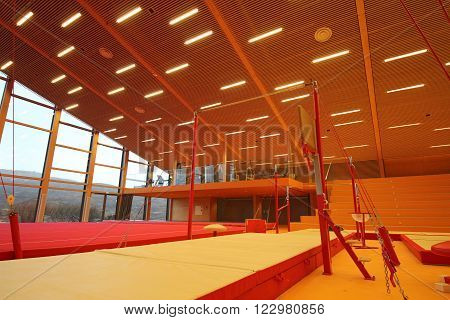 Gymnastic center and equipment for training gymnastics ** Note: Visible grain at 100%, best at smaller sizes