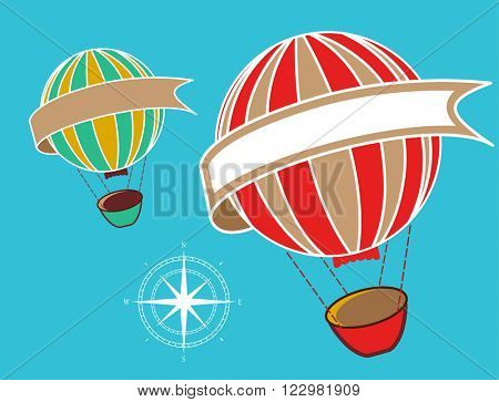 hot air balloons with banner -copyspace