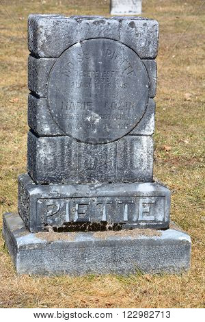 FRELIGHSBURG QUEBEC CANADA  MARCH 20 2016: Greve stone in Saint Francois Assise Cemetery Frelighsburg Monteregie Region Quebec Canada