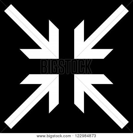 Collide Arrows vector icon. Style is flat icon symbol, white color, black background.