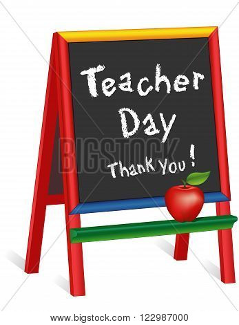 Teacher Day sign, annual American holiday on Tuesday of 1st full week of May, red apple, chalk text on multi color wood children's easel, thank you for preschool, daycare, nursery school, kindergarten.