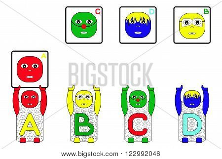 EDUCATIONAL MATCHING TASK WITH CHILDREN'S NAMES A,B,C and D. (MATCHING FACES TASK FOR CHILDREN)