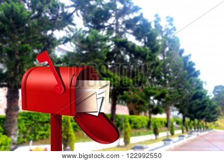 Red postal box on street walkway in day light