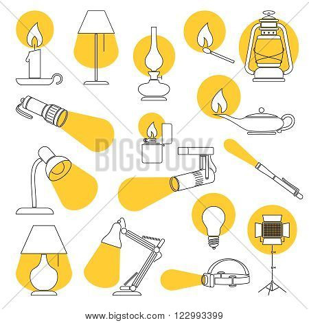 Line Drawing of a Set of Lamp and Lighting Equipments.