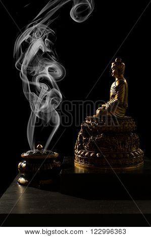 Sitting Bronze Budda With Incense Burner