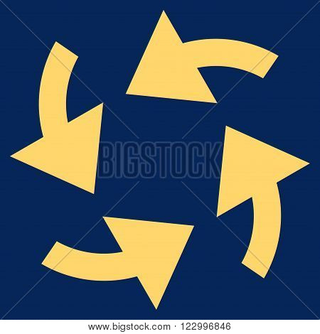 Cyclone Arrows vector icon symbol. Image style is flat cyclone arrows icon symbol drawn with yellow color on a blue background.