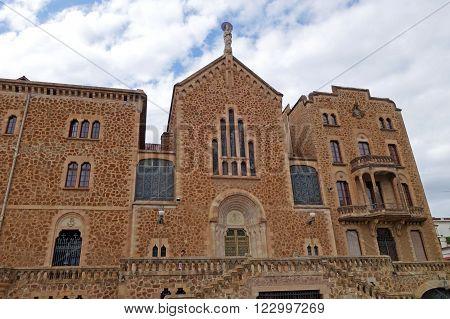 BARCELONA, SPAIN JULY 31, 2015: Sanctuary facade of Saint Joseph of the Mountain (El Real Santuario de San Jose de la Montana) in Barcelona, Spain