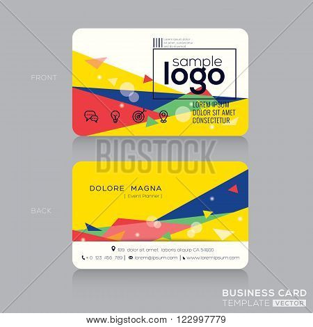 trendy business card design template with Postmodernism background