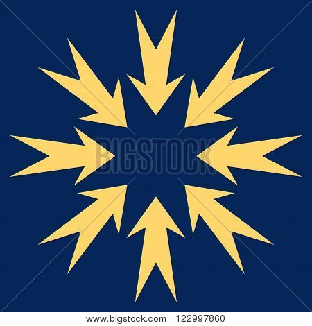 Pressure Arrows vector symbol. Image style is flat pressure arrows iconic symbol drawn with yellow color on a blue background.