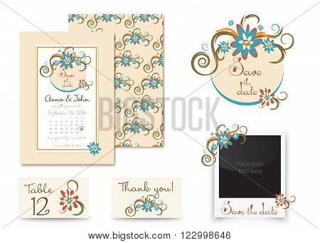 Vintage wedding invitation set design. Template vector place card, thank you card, save the date badge and photo frame. retro wedding set