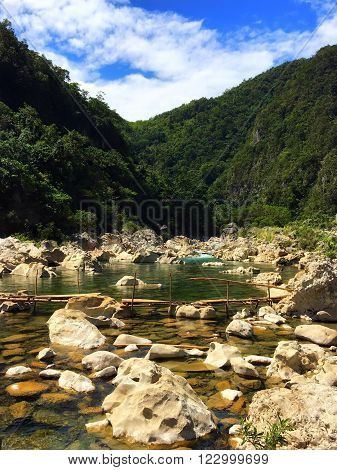 Calm part of Tinipak River in Tanay Rizal Philippines