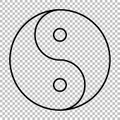 Ying yang symbol line vector icon on transparent background poster