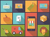 Ecommerce symbols. Flat design vector illustration with ecommerce and online shopping symbols poster