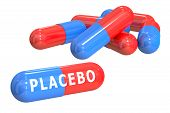 placebo concept with capsules isolated on white background poster