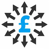 Pound Money Distribution vector icon. Pound Money Distribution icon symbol. Pound Money Distribution icon image. Pound Money Distribution icon picture. Pound Money Distribution pictogram. poster