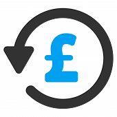 Pound Rebate vector icon. Pound Rebate icon symbol. Pound Rebate icon image. Pound Rebate icon picture. Pound Rebate pictogram. Flat pound rebate icon. Isolated pound rebate icon graphic. poster