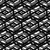 Black and white geometric art seamless pattern vector mosaic monochrome grungy background. Symmetric splicing net artificial backdrop. poster