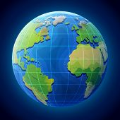 View of globe from space. Earth planet with ocean and continents. Qualitative vector illustration for travel planet Earth geography tourism world map trip cartography etc. It has transparency masks blending modes gradients poster