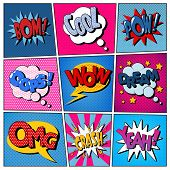 Comic Bubbles Set. Expressions Bom Cool Pow Oops Wow Dream Omg Crash Yeah. Halftone Background. Pop Art. Vector illustration poster