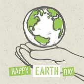 Happy Earth Day Poster. Symbolic Earth in hands on the recycled paper texture. 22 April poster