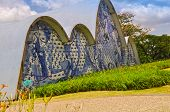 BH BRAZIL - DECEMBER 23 - An exterior view detail of the church of Sao Francisco de Assis on December 23 2015 in Belo Horizonte Brazil. Designed by Oscar Niemeyer is known as the Pampulha Church. poster