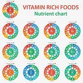Vitamin rich foods. Nutrient chart. Foods high in vitamins. Vector illustration diagram chart set of vitamins A, B1, B2, B3, B5, B6, B7, B9, B12, C, D, E, K poster