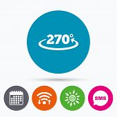 Wifi, Sms and calendar icons. Angle 270 degrees sign icon. Geometry math symbol. Go to web globe. poster