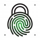 Fingerprint access icon. Fingerprint with lock shape. Fingerprint security concept icon. Vector fingerprint on white. Fingerprint technology. Unlock with fingerprint.  poster