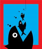 Little Fish Eat Big Fish. Unity Teamwork Mergers Acquisitions Partnerships monopoly Concept poster
