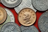 Coins of Taiwan. Taiwan president Chiang Kai-shek depicted in the Taiwan one dollar coin. poster
