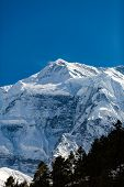 Inspirational Landscape in Himalaya Mountains. Annapurna Himal Range on Annapurna Circuit Trek, Beautiful Mountains and Views in Nepal, Asia poster