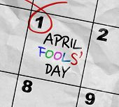 Concept image of a Calendar with the text: April Fools' Day poster