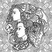 Vector girls in doodle style with gorgeous hairs on doodle background. Can be used as card, invitation, background element, adult coloring book. Hand drawn style. poster