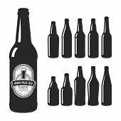 Vector craft beer silhouettes. Set of 10 various craft beer bottles. Different shapes and sizes. India pale ale label poster