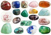 moonstone, agate, sodalite, turquoise, jasper, cinnabar, quartz, citrine, aventurine, rhodonite, chrysolite, bloodstone, jadeite, lapis lazuli, spessartine, aragonite, prehnite, gemstones on white poster