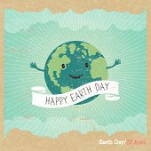 """Cartoon Earth Illustration. Planet smile and hold banner with """"Save Me"""" words. Vintage Earth Day Poster. Rays, clouds, sky. Text on white ribbon. On old paper texture. Grunge layers easily edited. poster"""