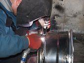 repair of titanium disks Argon arc welding poster
