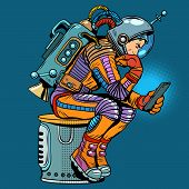 retro astronaut with a smartphone pop art retro style. Thinker. Science fiction. Technologies and gadgets. Mobile phone. Internet and communications poster