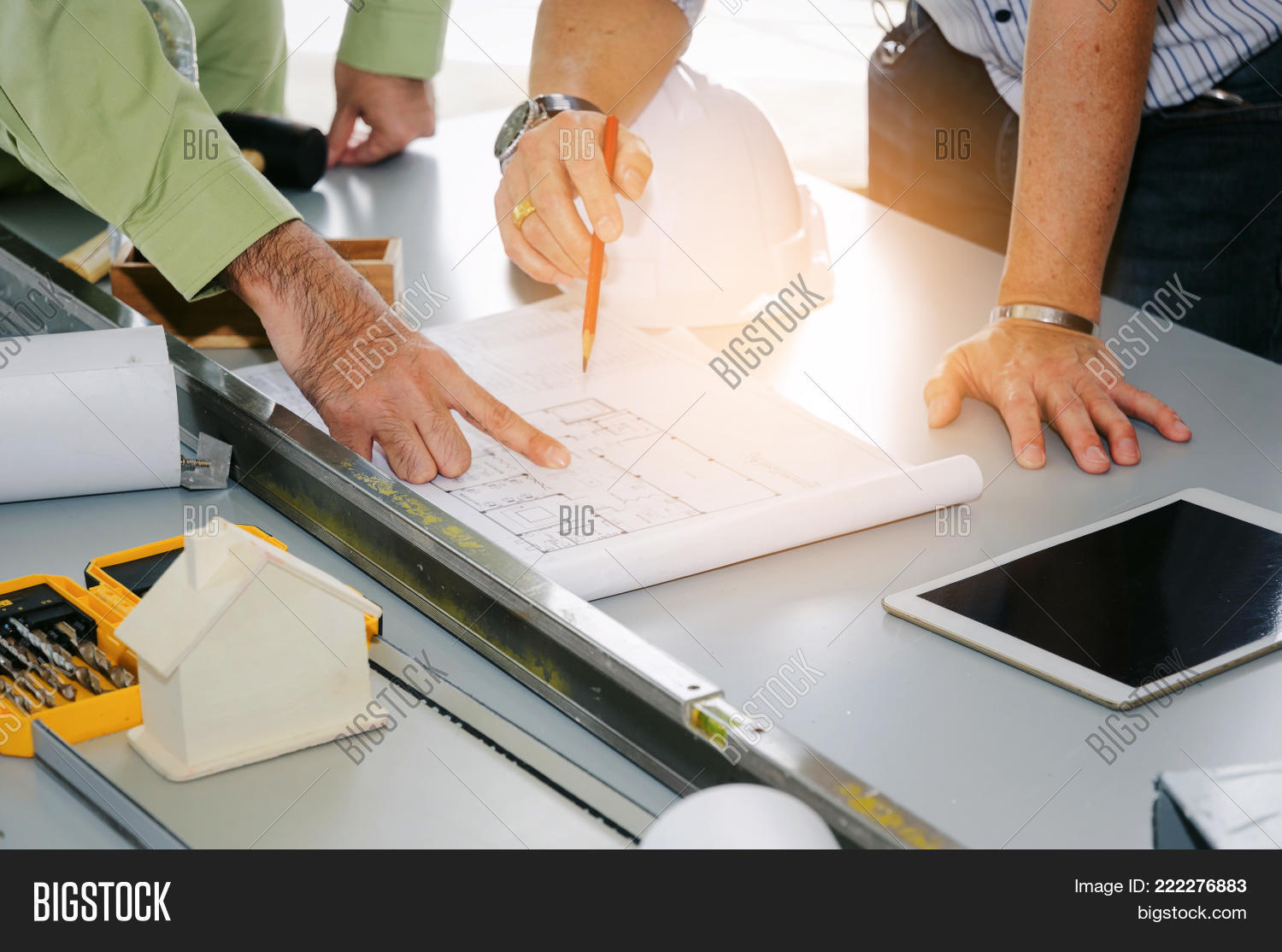 Engineer technician architect image photo bigstock engineer technician and architect planning about building plan with blueprint safety helmet construction malvernweather Images